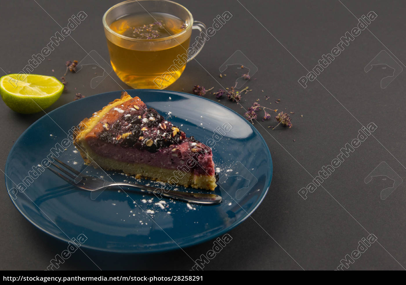 slices, of, blueberry, mousse, cake, with - 28258291