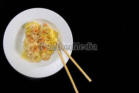 spaghetti, shrimp, in, white, dish, , top - 28258330