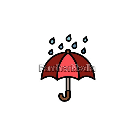 umbrella, and, rain., filled, color, icon. - 28258328