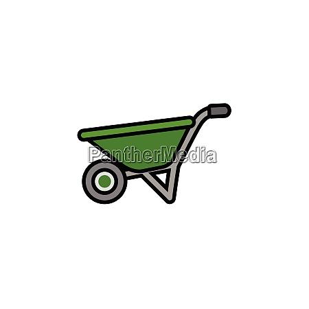 wheelbarrow., filled, color, icon., gardening, vector - 28258476