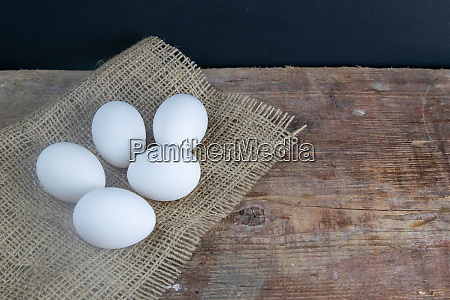 white, eggs, stand, on, a, burlap - 28258201