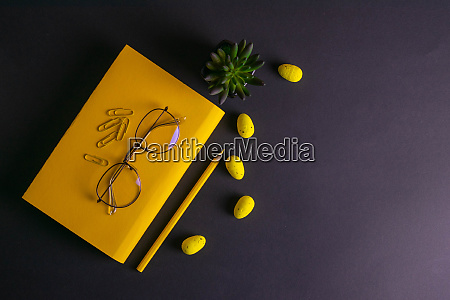 yellow, pencil, , yellow, notebook, glasses, , pins, - 28258285