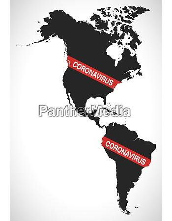 america continent map with coronavirus warning