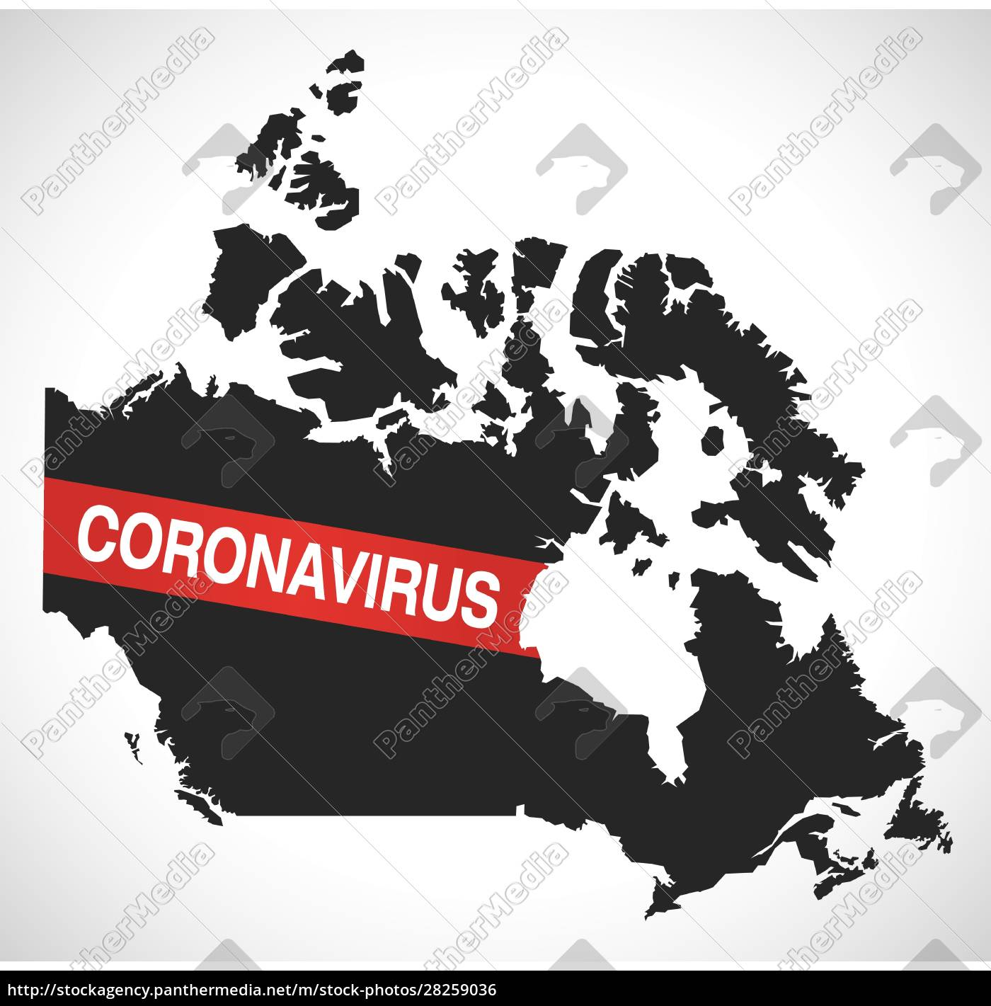 canada, map, with, coronavirus, warning, illustration - 28259036