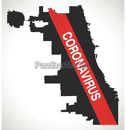 chicago, city, map, with, coronavirus, warning - 28259250