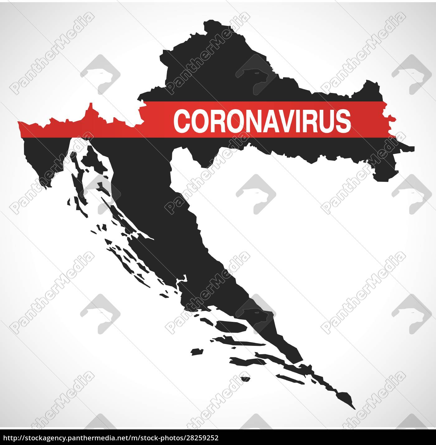 croatia, map, with, coronavirus, warning, illustration - 28259252