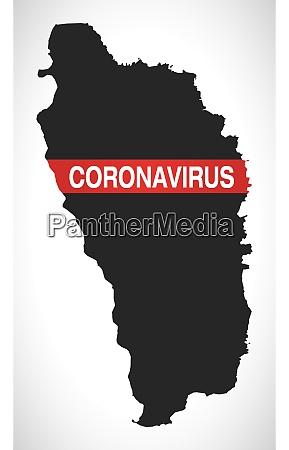 dominica, map, with, coronavirus, warning, illustration - 28259127
