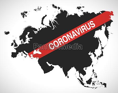 eurasia, map, with, coronavirus, warning, illustration - 28259149