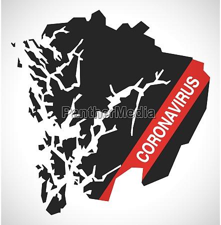 hordaland, norway, county, map, with, coronavirus - 28259399