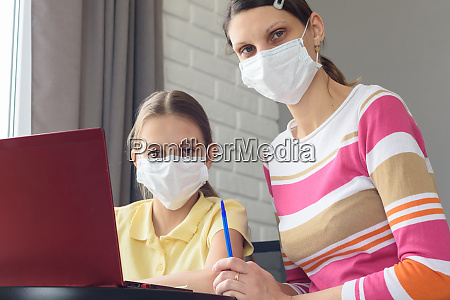 mom, and, daughter, in, medical, masks - 28259164