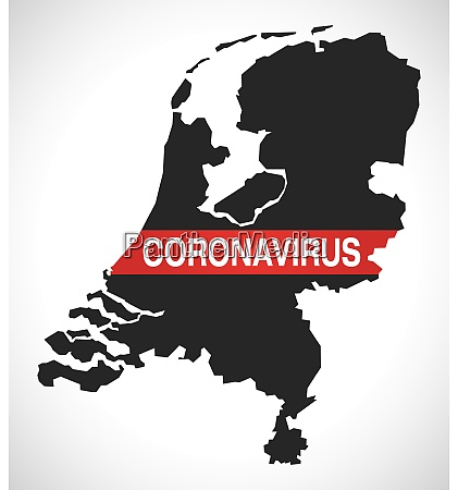 netherlands, map, with, coronavirus, warning, illustration - 28259061