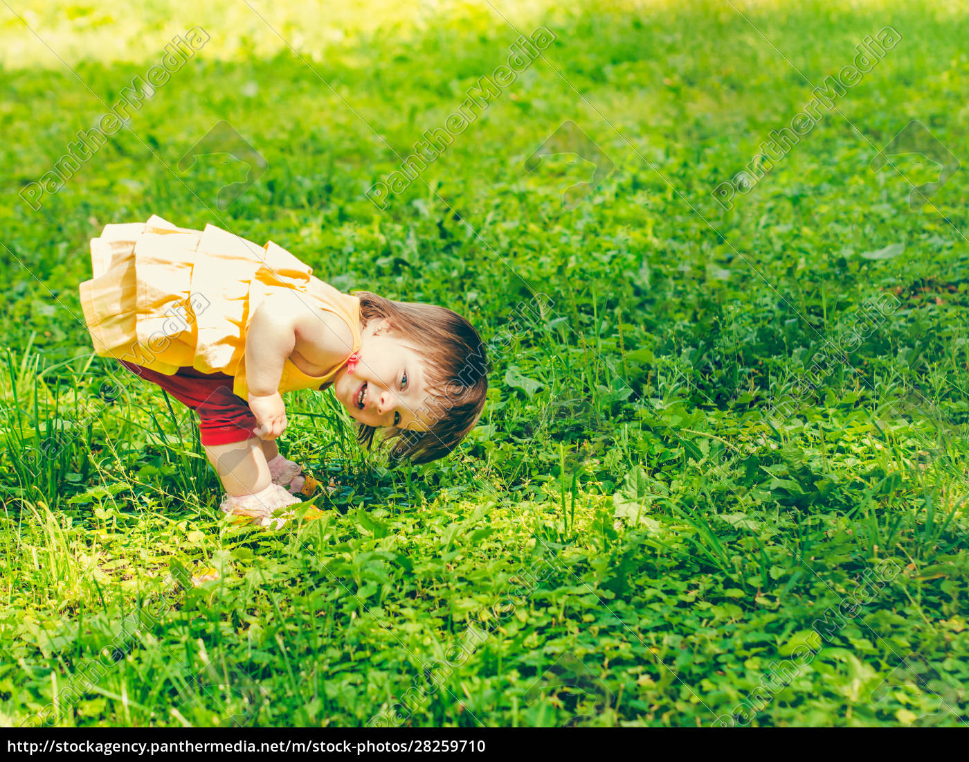 one-year, baby, girl, playing, upside, down - 28259710