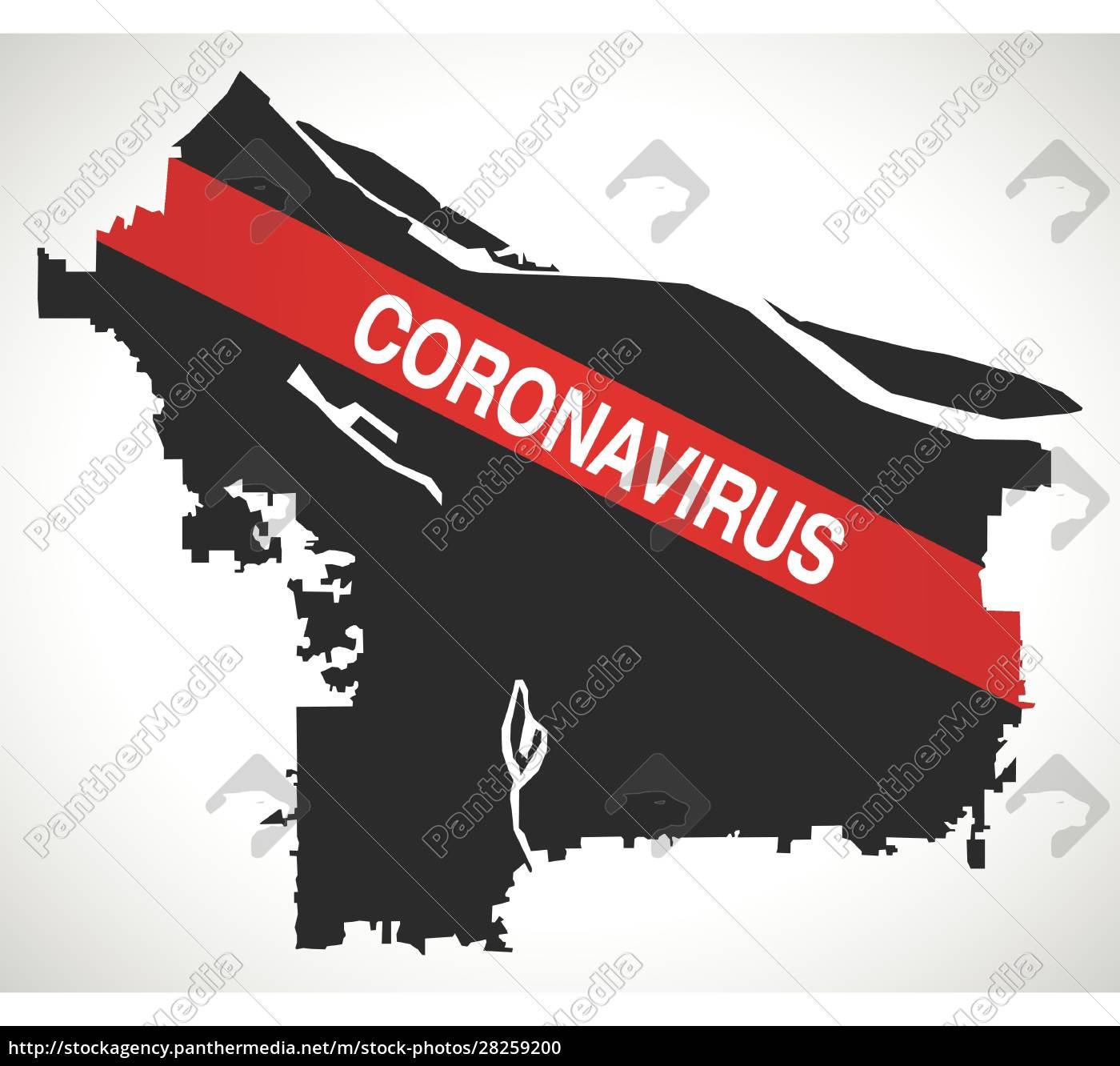 portland, oregon, city, map, with, coronavirus - 28259200