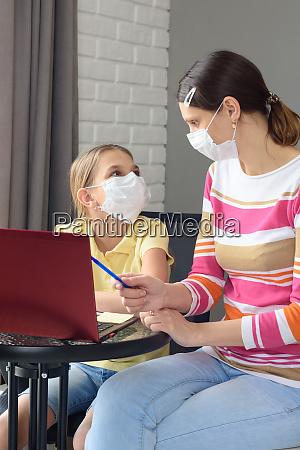 quarantined, family, , daughter, doing, homework, , mom - 28259162