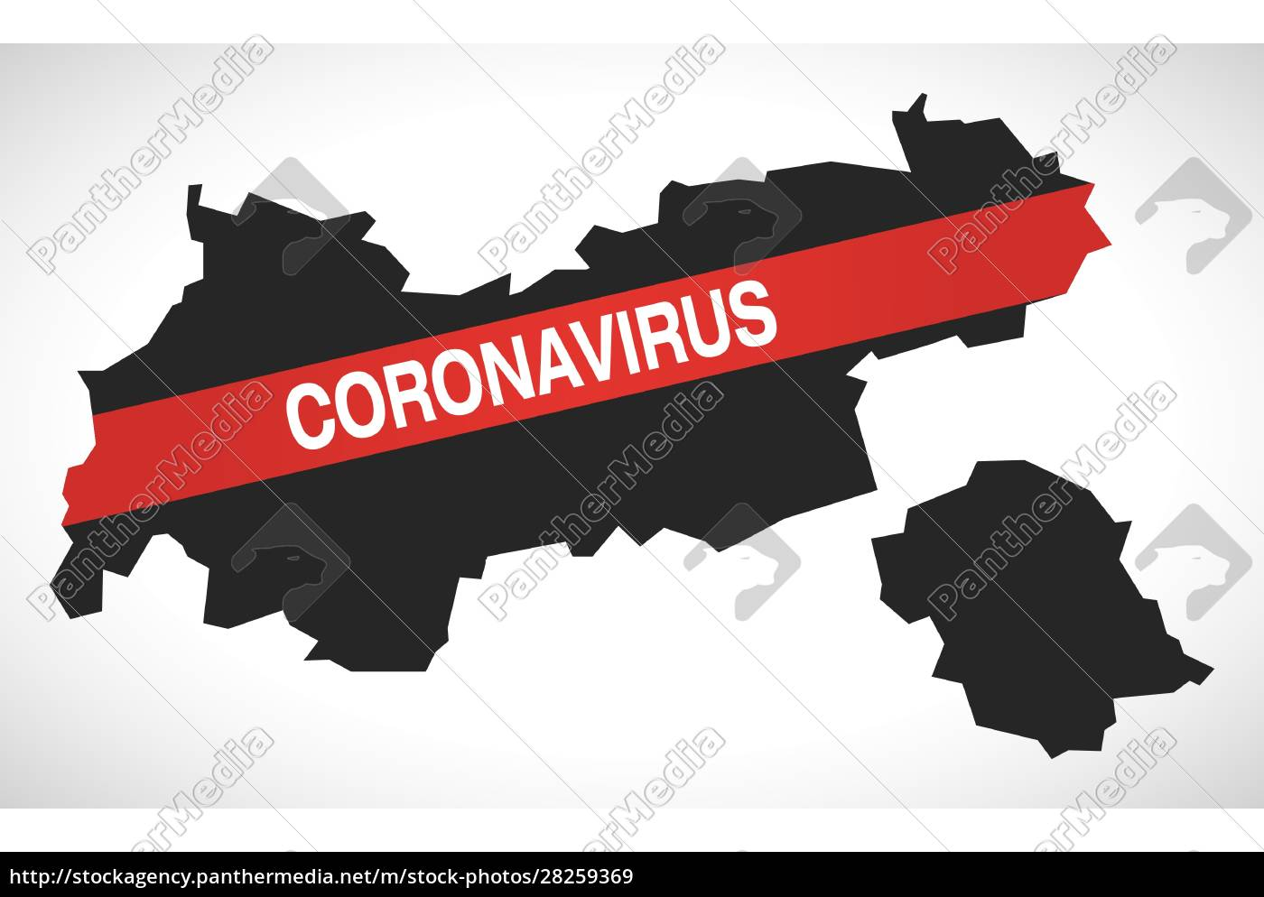 tyrol, austria, federal, state, map, with - 28259369