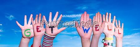 children hands building word get well