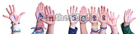 children hands building word i am