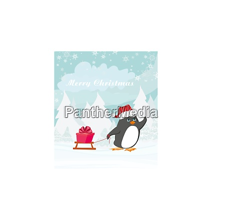 penguin with sleds funny christmas