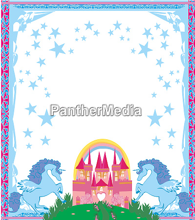 beautiful unicorn and fairy tale princess