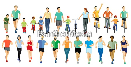 people running and cycling while doing
