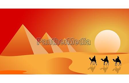 camel travelers in the desert of