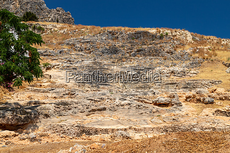 ancient amphitheater excavations in lindos on
