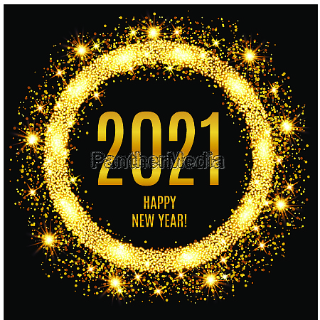 2021 happy new year glowing gold