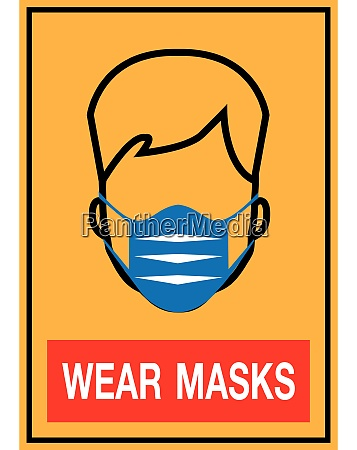 caution sign medical health mask