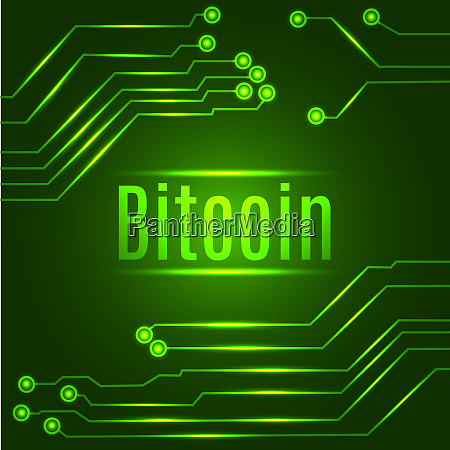 green bitcoin digital currency concept on