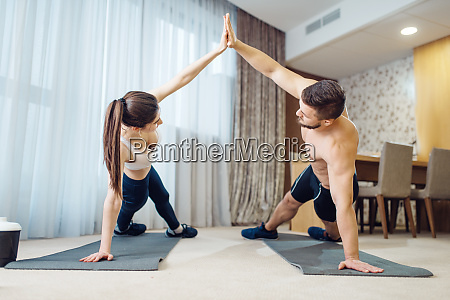 morning fit workout of love couple