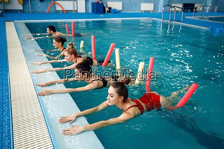 female swimmers group aqua aerobics training