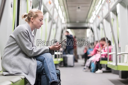 portrait of lovely girl typing message