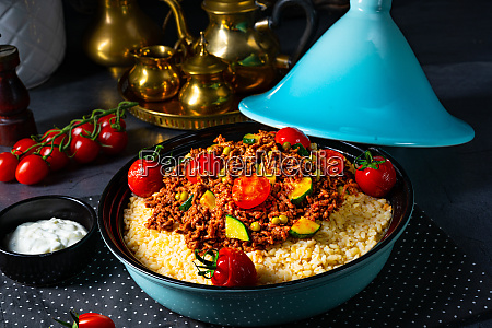 tomato bulgur with vegetables and minced