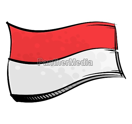painted indonesia flag waving in wind