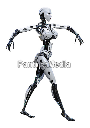 3d, rendering, female, robot, on, white - 28277799