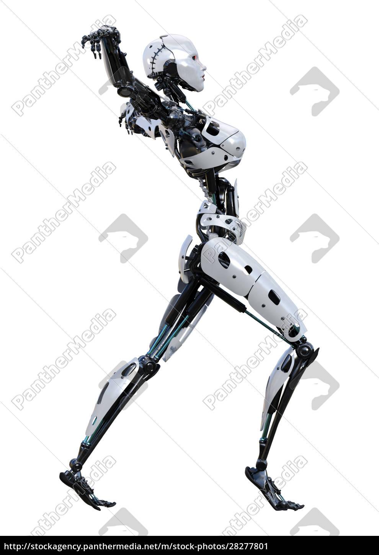 3d, rendering, female, robot, on, white - 28277801