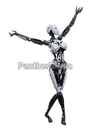 3d, rendering, female, robot, on, white - 28277803