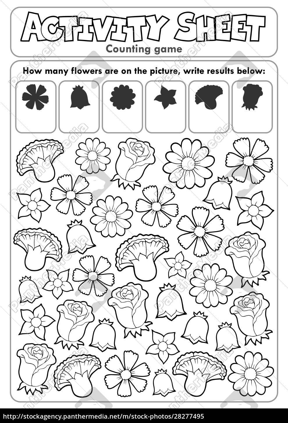 activity, sheet, counting, game, 2 - 28277495