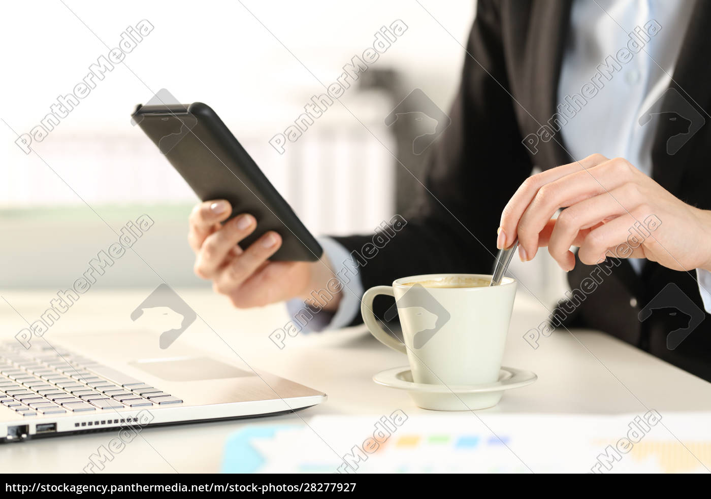 business, woman, hands, checking, phone, stirring - 28277927