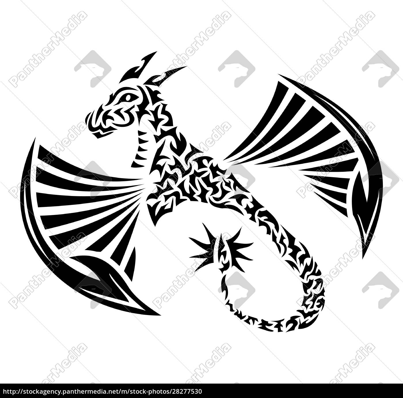drawing, of, a, calmly, sitting, dragon - 28277530