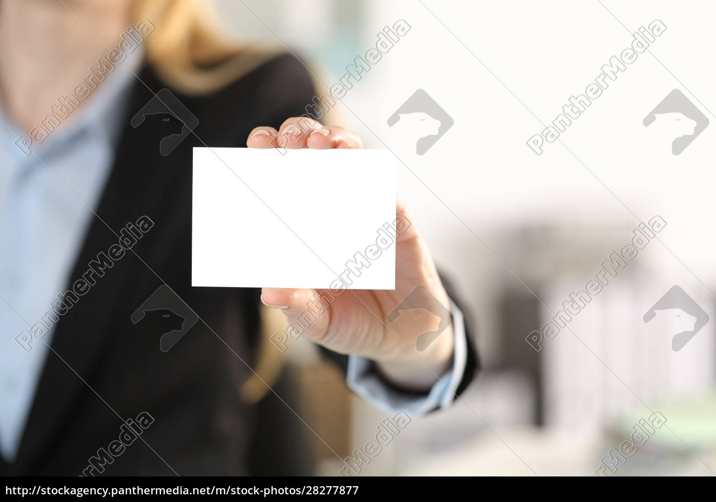 executive, hand, showing, blank, business, card - 28277877