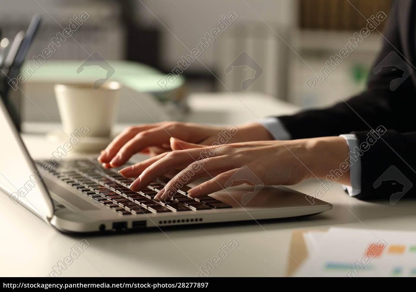 executive, woman, hands, typing, on, laptop - 28277897