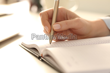 executive, woman, hands, writing, appointment, on - 28277904