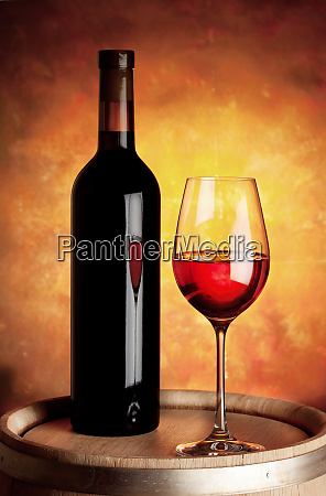 glass, of, red, wine, and, bottle - 28277295