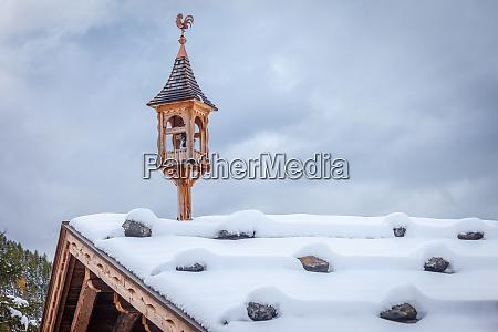 snowy, belfry, on, a, hut - 28277423