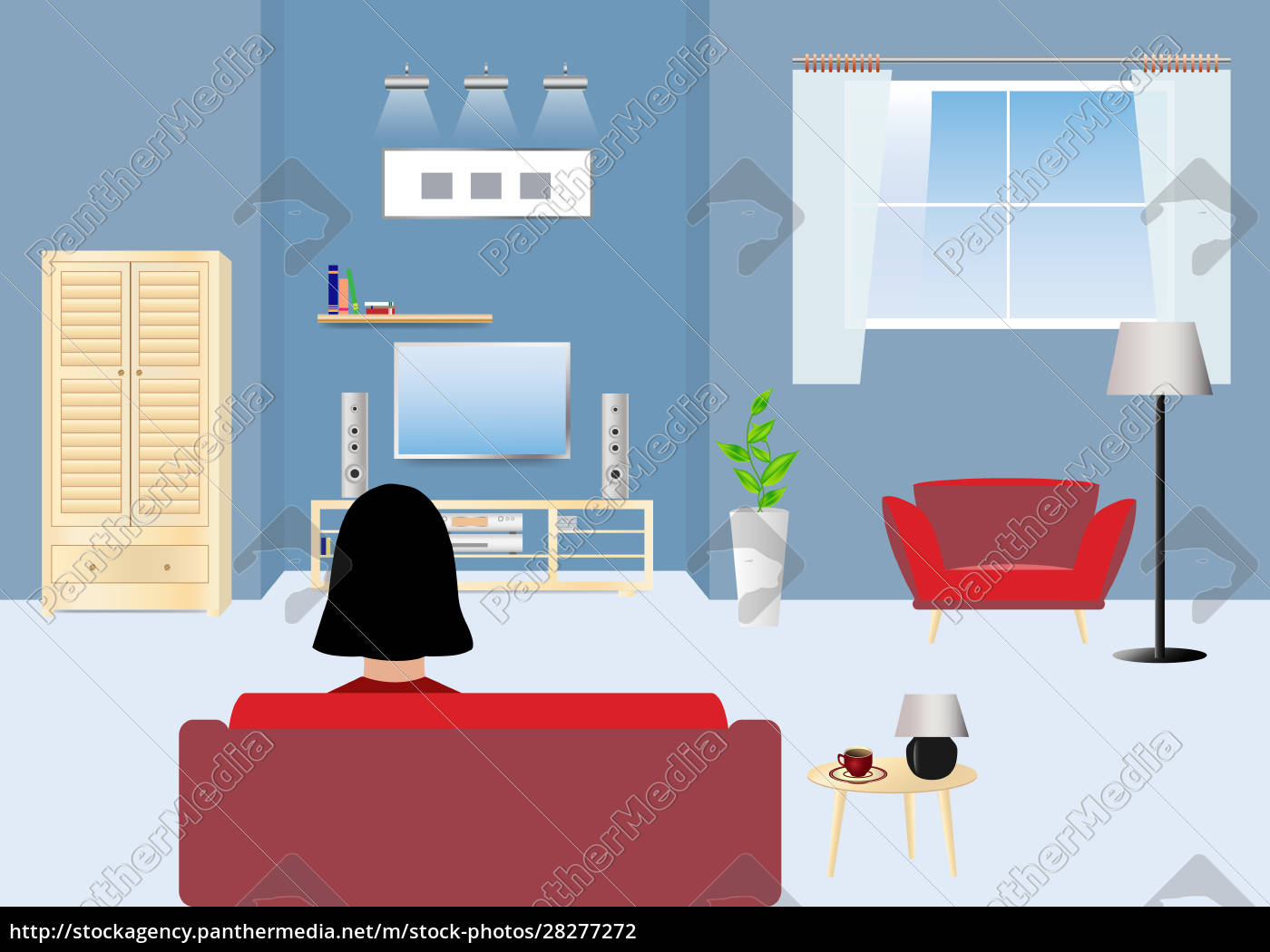woman, watching, tv, home, alone. - 28277272