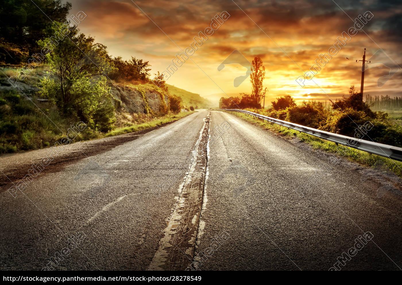 asphalt, road, receding, into, a, distance - 28278549