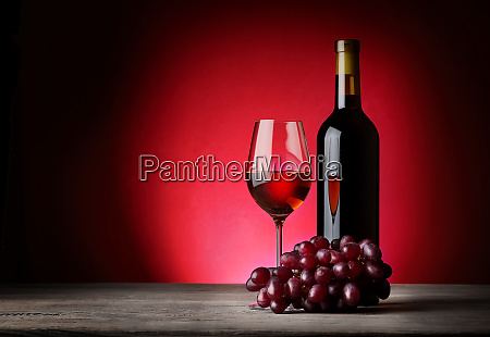 bottle, and, glass, of, wine, with - 28278730
