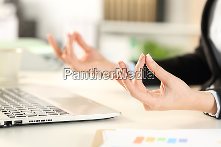executive, hands, relieving, stress, doing, yoga - 28278054