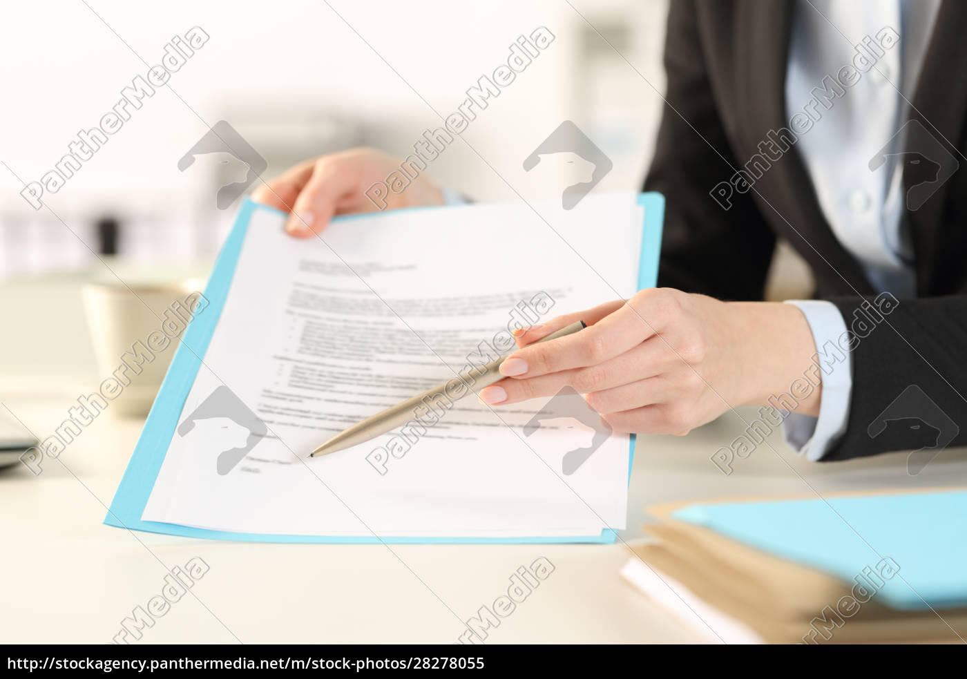 executive, hands, showing, contract, pointing, signature - 28278055